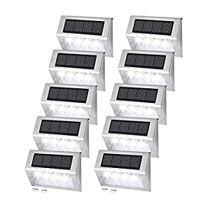 [10 Pack] EASTERNSTAR 4 LED Solar Step Lights, Solar Powered Deck Lights Waterproof Stainless Steel Outdoor Lighting for…
