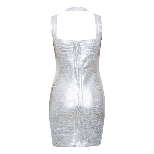 Halter Sexy Dress Metallic Women's Bandage Silver Sleeveless Bodycon HLBandage T5IZW6qT