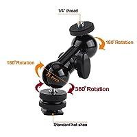 Multifunctional Flexible Double Ballhead Mount With Hot Shoe Adapter Standard Hot Shoe With 1/4 Screw by Yosoo