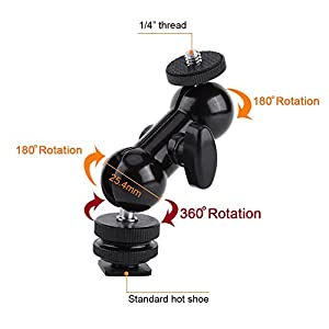 Multifunctional Flexible Double Ballhead Mount With Hot Shoe Adapter Standard Hot Shoe With 1/4 Screw by Yosoo