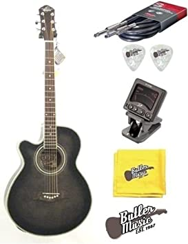 Oscar Schmidt OG10CEFTBLH Left-Handed Acoustic Electric Guitar Trans Black