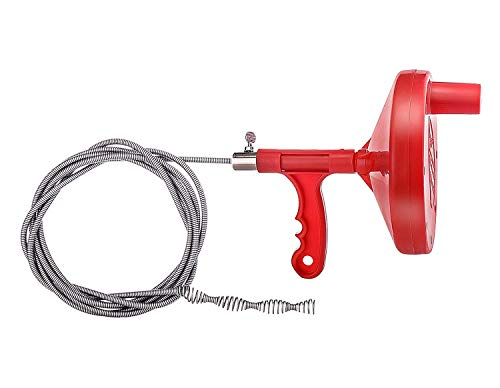onlyyou Drain Snake, Drain Auger, 1/4-Inch Drain Clog Remover, Tube Drain Cleaning (Red) by onlyyou