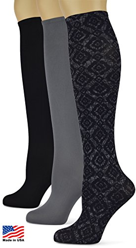 Knee High Socks with Colorful Printed Patterns - Made in USA by Sox Trot (Black & Smoke New) 3 pack