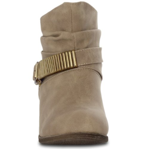CASPaR Vintage Women's Ankle Boots with Metal Decoration and A short barrel Size: 7 vlPQe0a