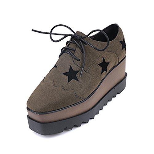 Btrada Thick Bottom Women's Platform Square Toe Fashion Sneaker High Heel Casual Walking Shoes Plus Velvet