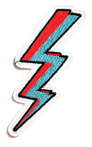 (Nipitshop Patches Red Blue Lightening Bolt Thunderbolt Cartoon Kids Patch Embroidered Iron On Patch for Clothes Backpacks T-Shirt Jeans Skirt Vests Scarf Hat Bag)
