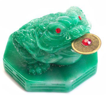 Feng Shui Green Money Frog Statue 3-legged Money Toad Figurine On Ba Gua Base