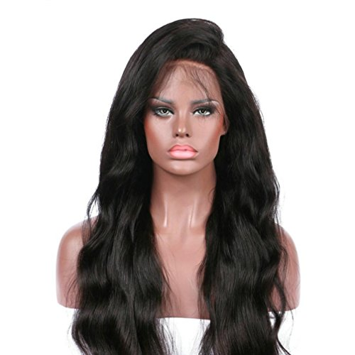 Clearance Sale! Exteren Curly Wig Glueless Full Lace Wigs Black Women Indian Remy Human Hair Lace Front (Black) (Indian Remy Hair Wigs)