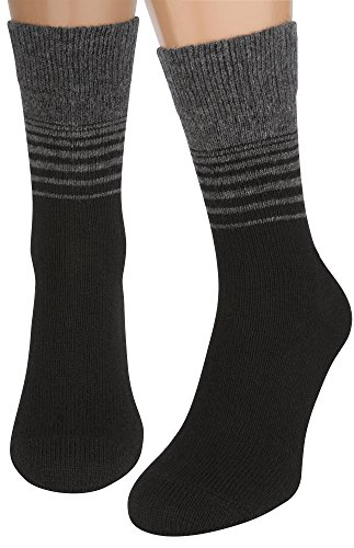 Air Wool Socks, 2 packs Merino Wool Organic Cotton Rich Mens Black Dress Socks (Striped Black, M)