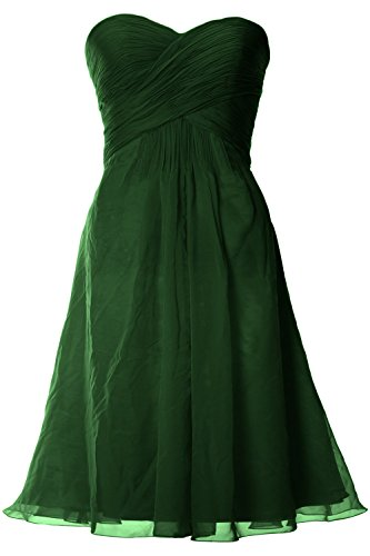 MACloth Women Strapless Short Bridemaid Dress Wedding Cocktail Party Gown Verde Oscuro