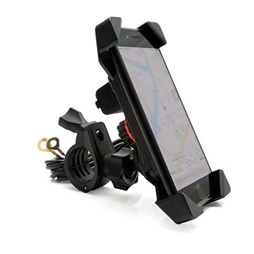 - Motorcycle Phone Mount Holder with USB Charger Port Universal for 7/8