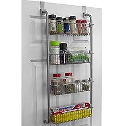 Cabinet Door Organizers Home Basics Heavy Duty 4 Tier Over The Door Storage Shelf Hanging Cabinet Metal Pantry Rack Organizer Spice Space, Grey… cabinet door organizers