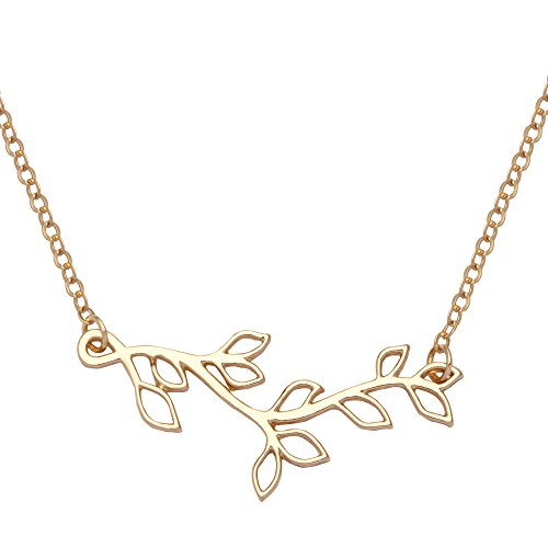 TUSHUO Hollow Leaf Pendant Necklace Simple Olive Branch Tree Branch Jewelry for Women - Tree Twig Jewelry