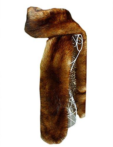 (NAFLEAP Women Winter Warm Faux Fox Fur Scarf Collar Long Wrap Scarf Stole Shawl Shrug,Deep)