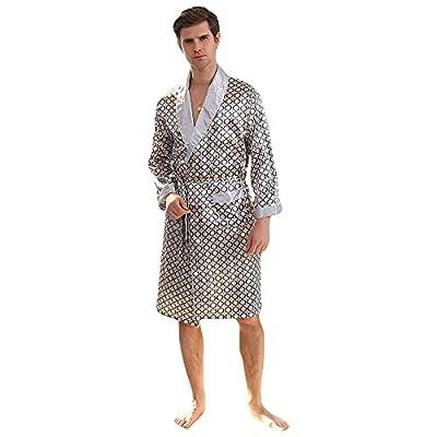 WEEN CHARM Men's Kimono Soft Satin Luxury Robe with Pajama Shorts Loungewear Sleepwear Long Sleeve Silk Bathrobe PJ Set