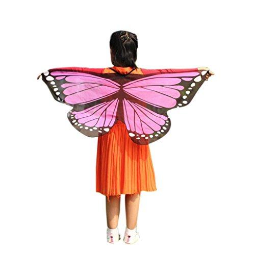 s Girls Bohemian Butterfly Print Shawl Pashmina Costume Accessory by Vovotrade (Pink-C) (Two Tone Gauze)