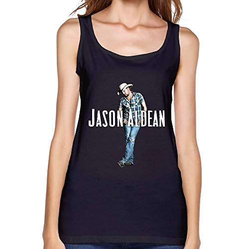 SY American Country Rock Singer Jason Aldean Cotton Tank Top Shirt For Women Black XXL