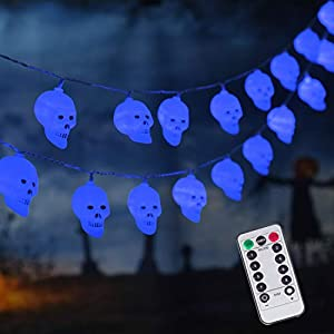 30 LED Halloween Decoration Skull String Lights, Battery Operated 8 Modes Fairy Lights with Remote, 16.4ft Waterproof…