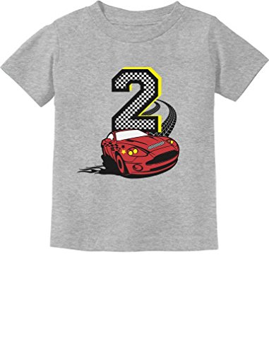 TeeStars - 2nd Birthday Race Car Party 2 Year Old Boy Toddler Kids T-Shirt 5/6 Gray ()