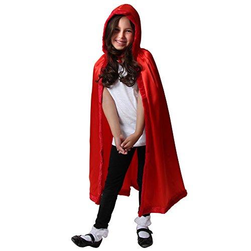 Satin Cloak with Faux Fur Trim (Red) ()