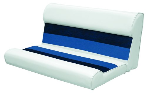 Wise 36-Inch Pontoon Bench Seat Cushion (Base Required to Complete), White-Navy-Blue - Wise Pontoon Boat Furniture
