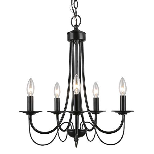 - LALUZ 2-Layer Chandeliers, 5-Light, Black Candle Chandelier for Dining Room, Living Room and Foyer