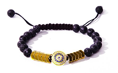 Bella.Vida Bracelet Unisex 8mm Healing Lava Hematite Bead Handmade Adjustable Braided Diffuser Bracelet (Guard of Evil Eye)