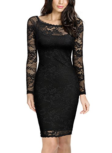 Miusol Women's Elegant Floral Lace Long Sleeves Bridesmaid Midi Dress,Black,Large