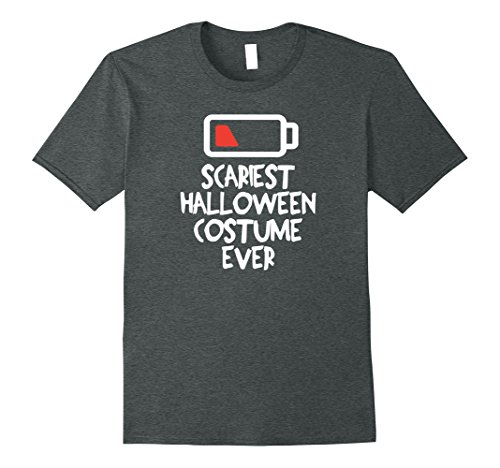 Mens Funny Halloween Joke T-shirt - Low phone battery 3XL Dark Heather