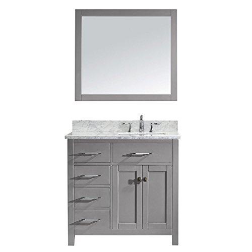 Virtu USA MS-2136L-WMSQ-CG-001 Caroline Parkway Single Bathroom Vanity with Marble Top/Square Sink -