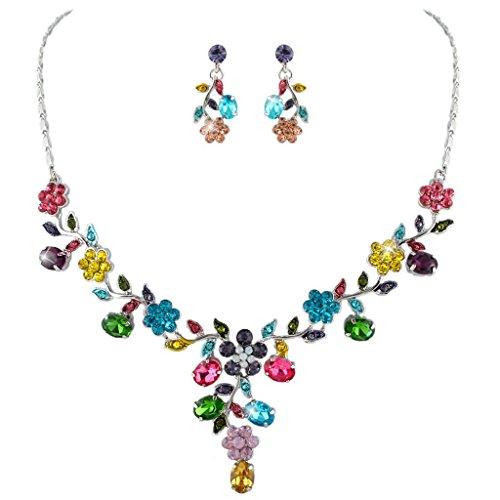 EVER-FAITH-Flower-Leaf-Necklace-Earrings-Set-Austrian-Crystal-Silver-Tone