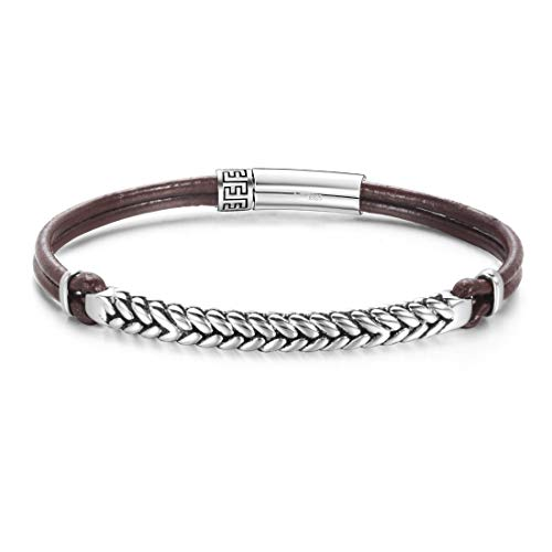 Carleen Footprint 925 Sterling Silver Genuine Mens Leather Bracelet Braided Rope Energy Charm Push Button Locking Clasp, 7.5