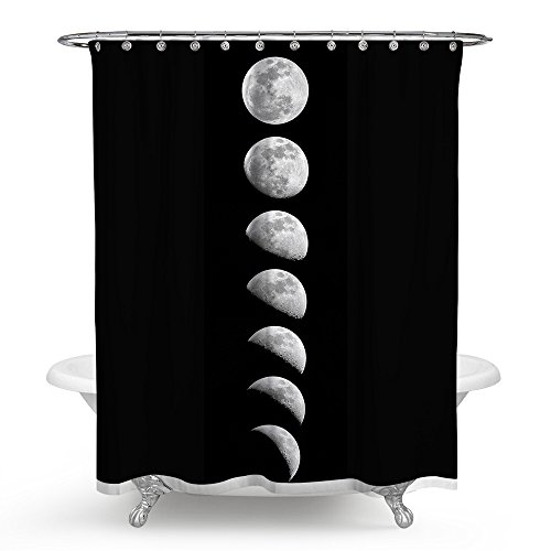 Roslynwood Phases of The Moon Galaxy Pattern Waterproof Fabric Polyester Bathroom Shower Curtain 69 by 70 inches