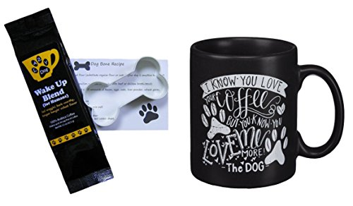 Paw Prints Love Me More Mug, Lazy Dog Wake Up Blend Coffee (for Humans), Dog Bone Recipe and Cookie Cutter Bundle Gift Set (4 Items)