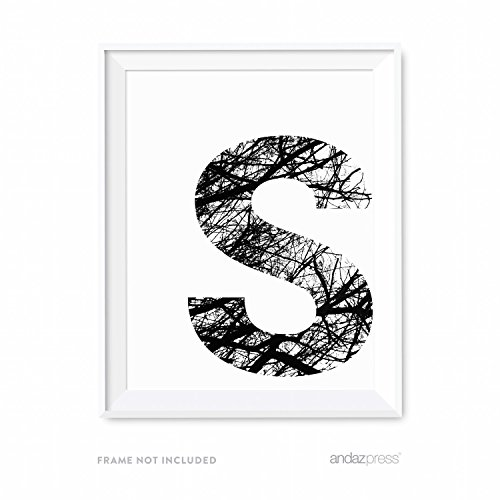 Natures Monogram - Andaz Press Monogram Wall Art Print Poster, Black and White Tree Branches Nature Photography Collection, Letter S, 8.5x11-inch Sign, 1-Pack