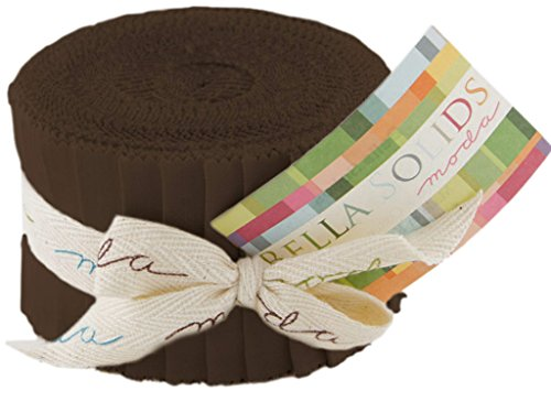 Bella Solids Brown Jr Jelly Roll (9900JJR 71) by Moda House Designer for Moda (Quilting Brown Fabric)