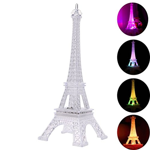 LEDMOMO Eiffel Tower Nightlight Light Up Acrylic 7 Colors Changing 10 Inch Desk Night Light Kids Christmas Gift for Holiday Bedroom Centerpiece Decor -