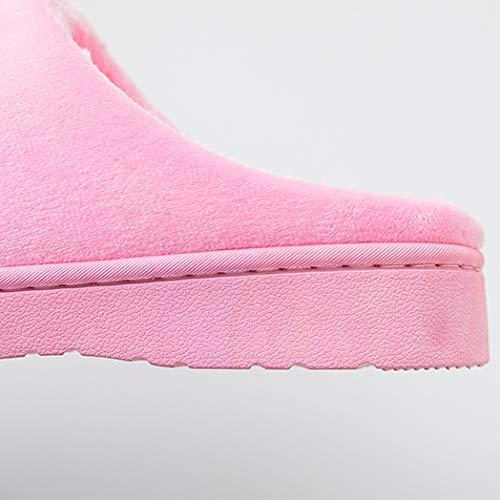 Maison De Antidérapantes flip De Nouveau Intérieur Chaussures Pantoufles D'Intérieur À Mignon Mois Mâles Rose Épais Chaussures Coton flop Pantoufles Femme Couple Fond Hiver TFRn6Fr