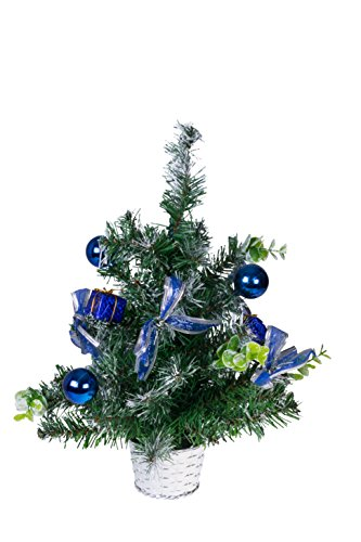 Clever Creations Table Top Christmas Tree with Ornaments   Green and Blue Christmas Decor Theme Shatter Resistant Ornaments   Stands 18