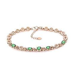 White/Rose Gold Green Garnet Diamond Bracelet