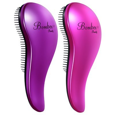 BOMBEX Detangling Brush - 2-Piece Value Set - Wet Hair Brush,Professional No Pain Detangler for Women,Men,Kids,Purple & Pink by BOMBEX