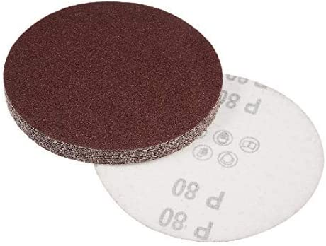 - 5-inch sanding disc, 80 grains, sandpaper with aluminum oxide coating for sanders, 10 pieces