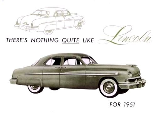 - 1951 LINCOLN FULL COLOR DEALERSHIP SALES BROCHURE - Includes All Models Sports Sedan & 6-Passenger Coupe - ADVERTISMENT - LITERATURE 51