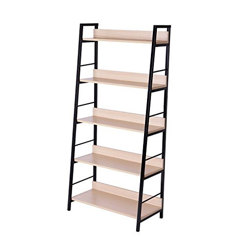 HomCom Deluxe 5-Shelf Modern Ladder Bookcase - Golden Oak/Black