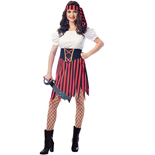 WicLian Women's Pirate Lady Costume Dress with Sword, Waist Seperate Belt,Headpiece (12-14) -
