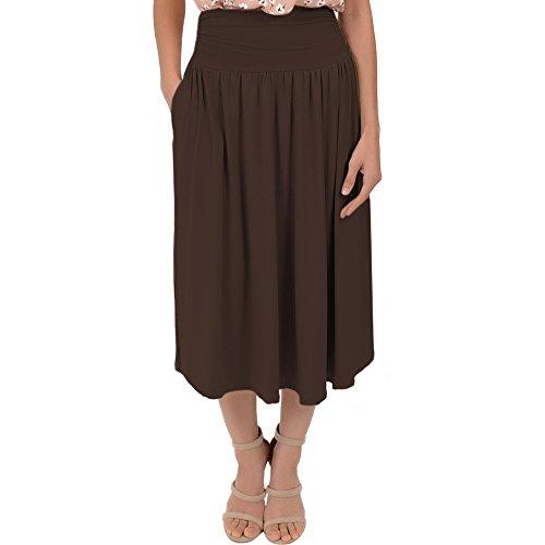 Stretch Is Comfort Women's Plus Size Midi Pocket Skirt Brown 2X