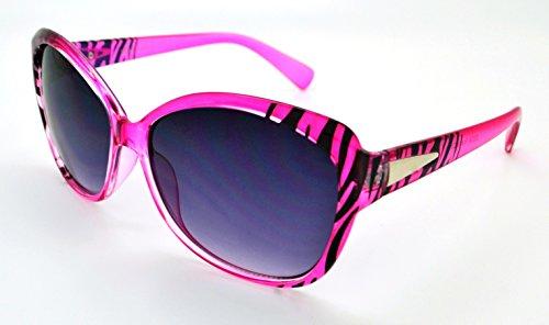 pour femme gratuit Vox tendance soleil microfibre W de Hot Lunettes haute Frame qualité classique étui Mode Lens Zebra Pink Smoke 6F6fX