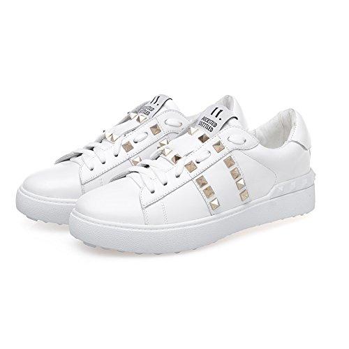 Shenn Damen Low Heel mit Funkelnden Glitter Klassiker Weiches Leder Fashion Sneakers SN2510 Weiß