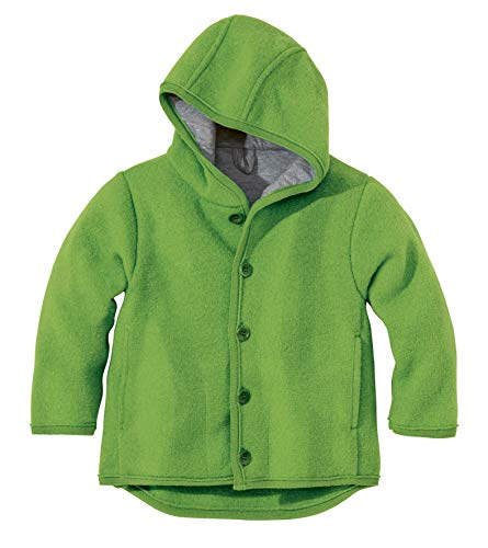 Disana 100% Merino Boiled Wool Jacket boy Girl Baby Children Hood Buttons Coat (98/104 (2-3 y), Green) ()
