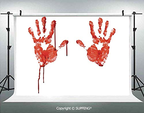 Photo Backdrop Handprint Like Wanting Help Halloween Horror Scary Spooky Flowing Blood Themed Print 3D Backdrops for Interior Decoration Photo Studio Props]()